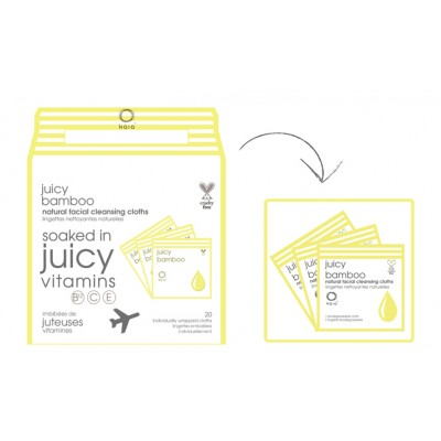 Juicy Bamboo facial cleansing cloths travel pack